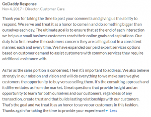 Godaddy Response to Employee