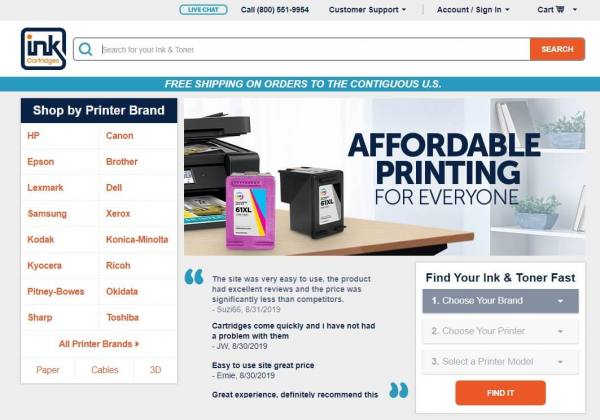 Inkcartridges home page